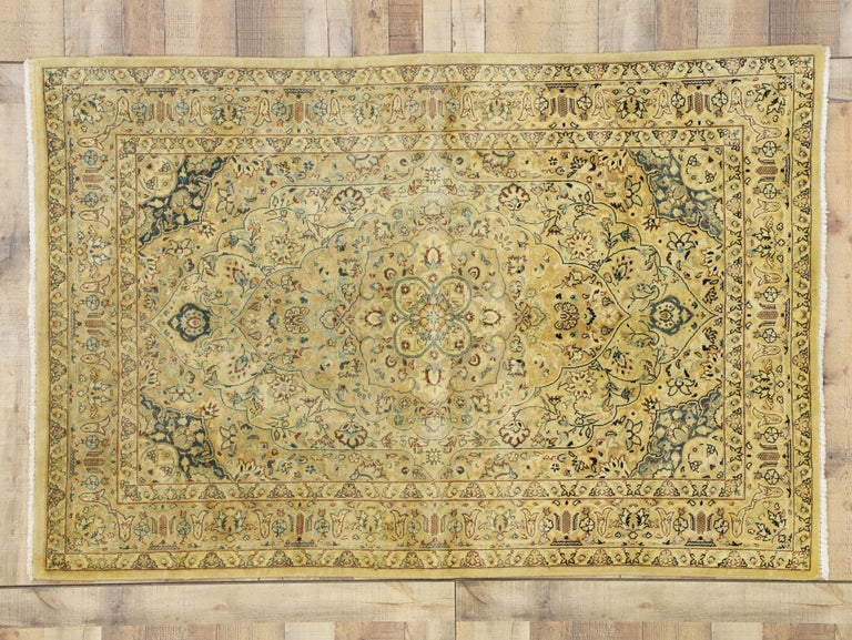 Neoclassical Vintage Indian Persian Design Accent Rug with Traditional Modern Style For Sale