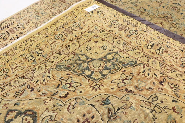 Hand-Knotted Vintage Indian Persian Design Accent Rug with Traditional Modern Style For Sale