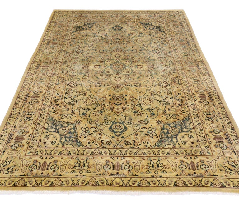Wool Vintage Indian Persian Design Accent Rug with Traditional Modern Style For Sale