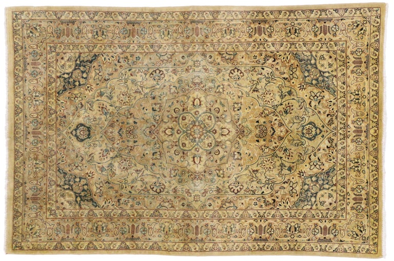 Vintage Indian Persian Design Accent Rug with Traditional Modern Style For Sale 1