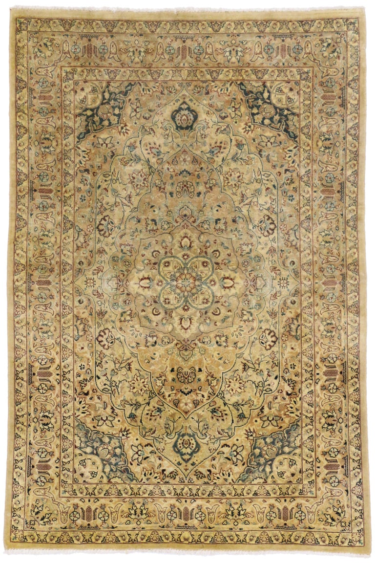 Vintage Indian Persian Design Accent Rug with Traditional Modern Style For Sale 2