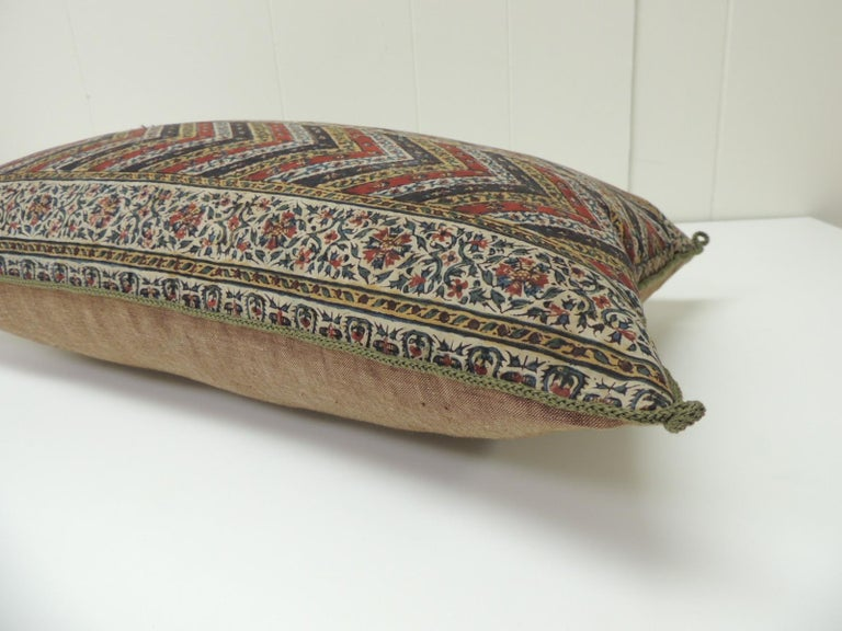 Moorish Vintage Indian Red and Gold Long Decorative Lumbar Pillow with Rope Trim For Sale