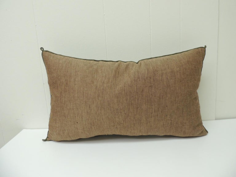 Hand-Crafted Vintage Indian Red and Gold Long Decorative Lumbar Pillow with Rope Trim For Sale