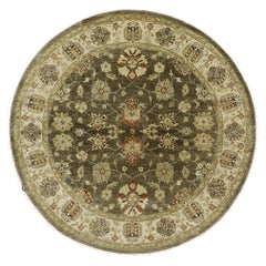 Vintage Indian Round Area Rug, Circular Rug with Arts and Crafts Style