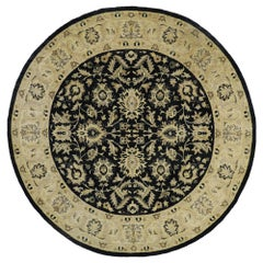 Vintage Indian Round Area Rug, Circular Rug with Modern Amish Style