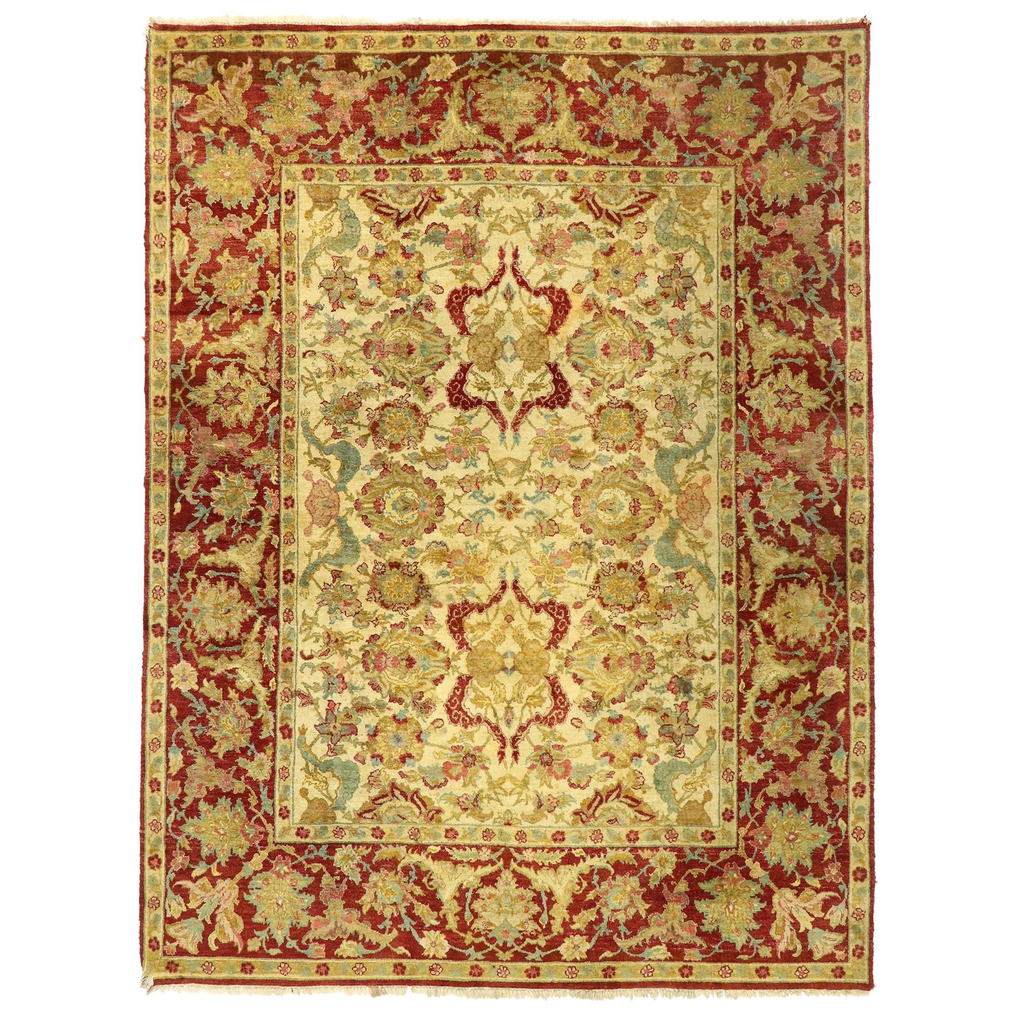 Vintage Indian Rug with Arts & Crafts Style Inspired by William Morris