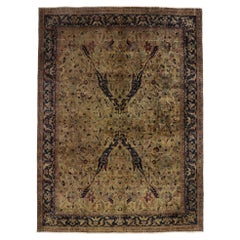Vintage Indian Rug with Warm Arts & Crafts Style