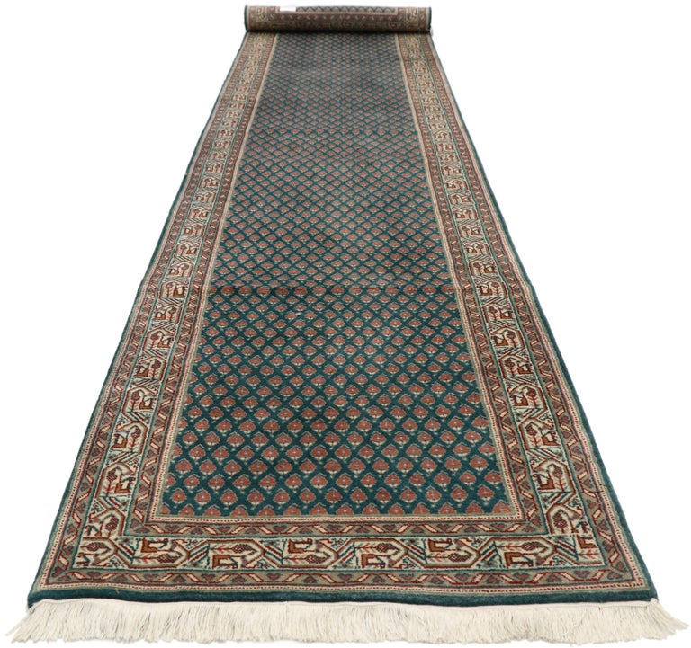 Hand-Knotted Vintage Indian Runner with Old World Victorian Style For Sale