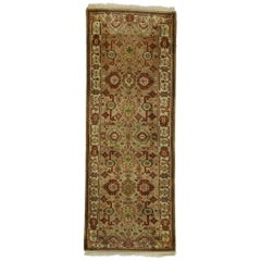 Vintage Indian Runner with Rustic Arts & Crafts Style, Short Hallway Runner
