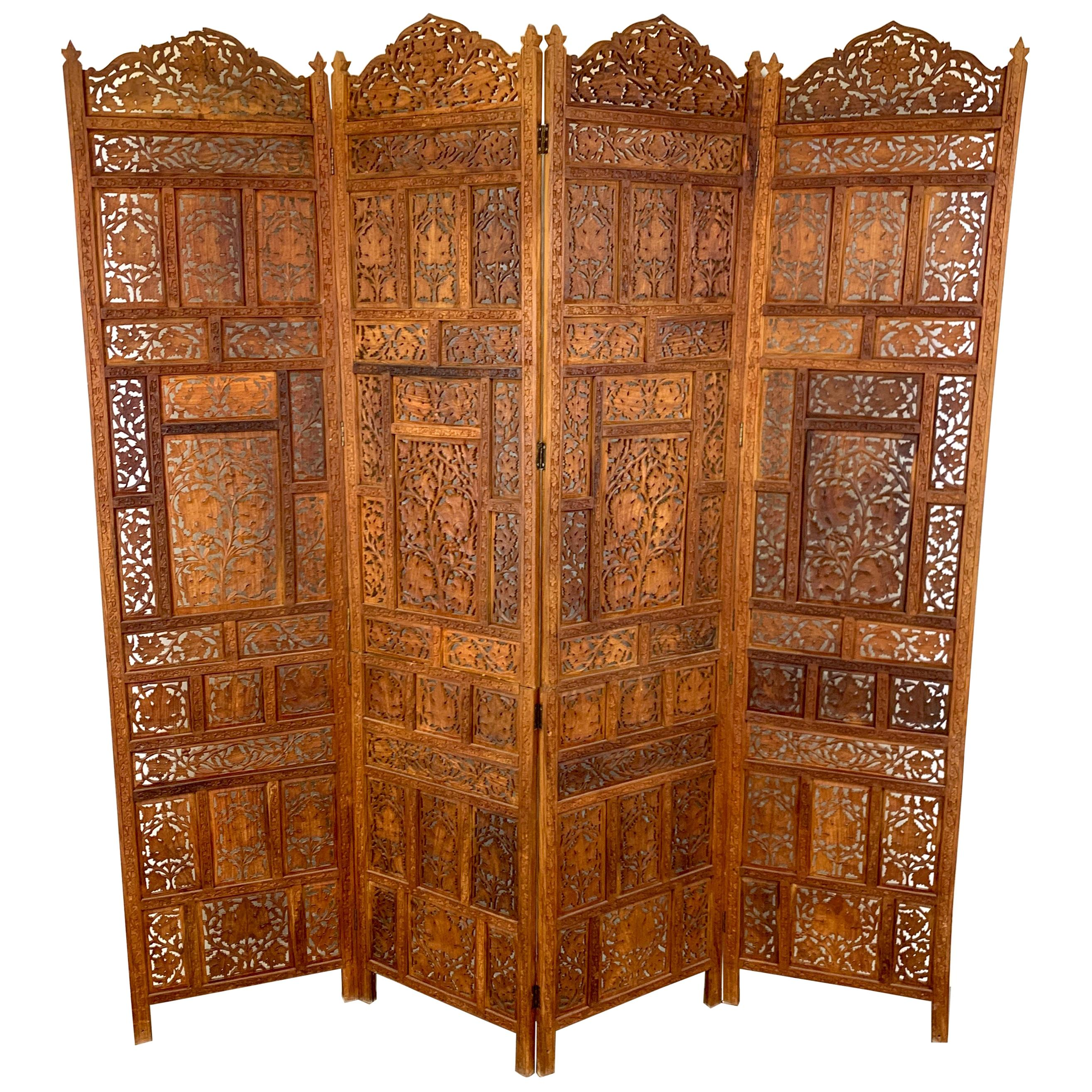 Vintage Indian Sandalwood Four Panel Screen