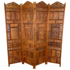 Vintage Indian Sandalwood Four Panel Screen