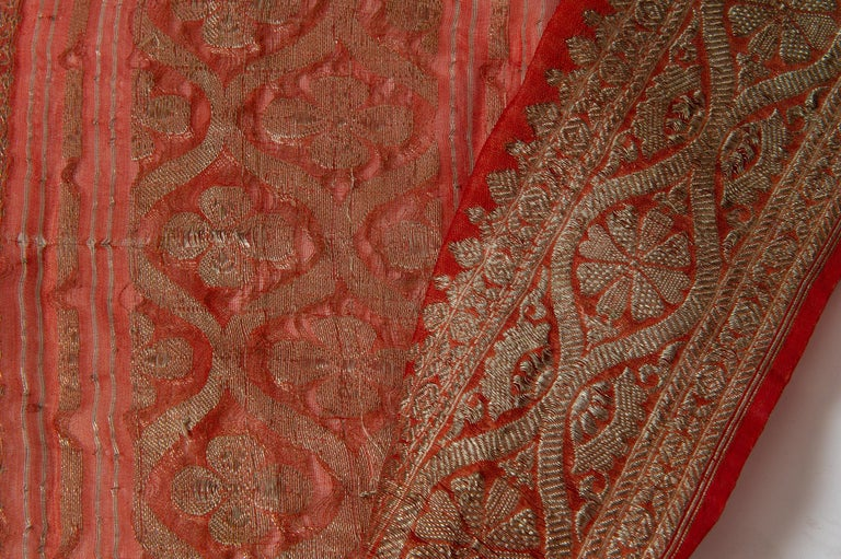 Vintage Indian Sari Coral Color New Idea for Unusual Curtains Also For Sale 3