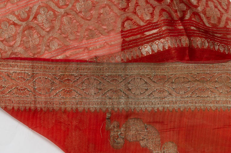 Vintage Indian Sari Coral Color New Idea for Unusual Curtains Also For Sale 4