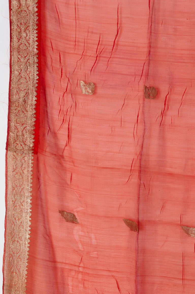Vintage Indian Sari Coral Color New Idea for Unusual Curtains Also For Sale 8
