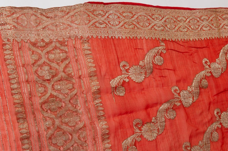 Vintage Indian Sari Coral Color New Idea for Unusual Curtains Also For Sale 9