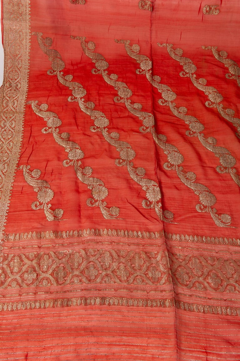 Vintage Indian Sari Coral Color New Idea for Unusual Curtains Also For Sale 10
