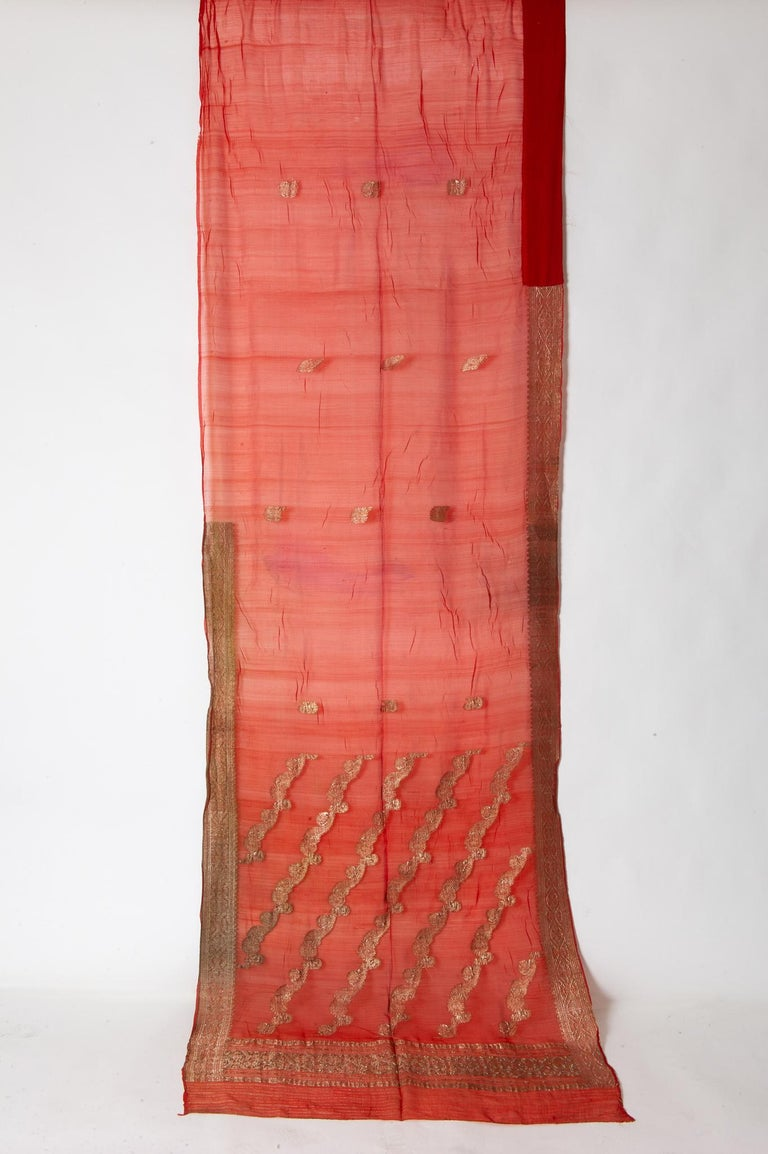 Agra Vintage Indian Sari Coral Color New Idea for Unusual Curtains Also For Sale