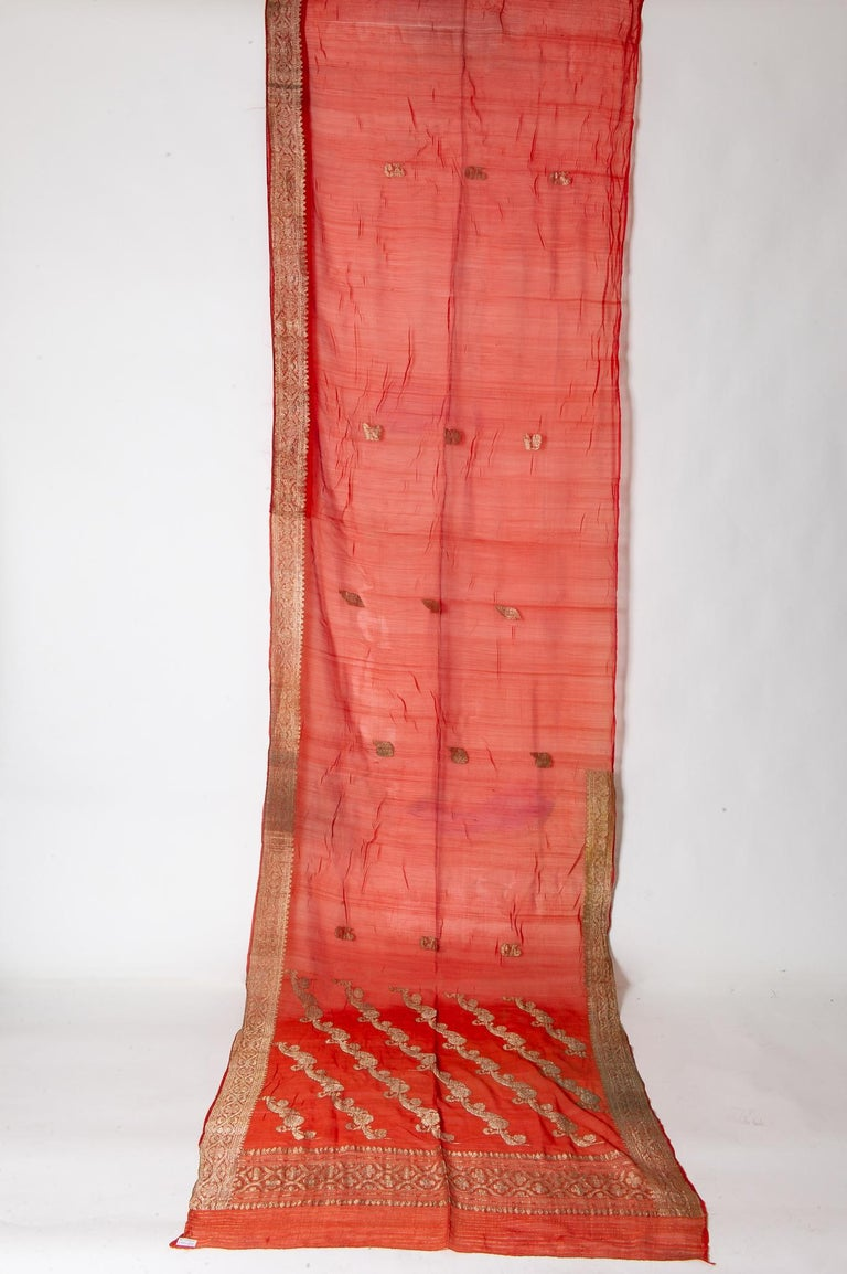 Embroidered Vintage Indian Sari Coral Color New Idea for Unusual Curtains Also For Sale