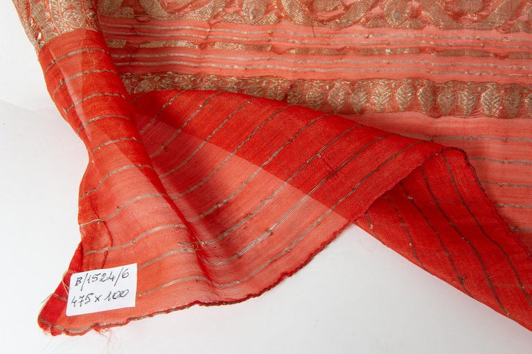 Vintage Indian Sari Coral Color New Idea for Unusual Curtains Also In Fair Condition For Sale In Alessandria, Piemonte