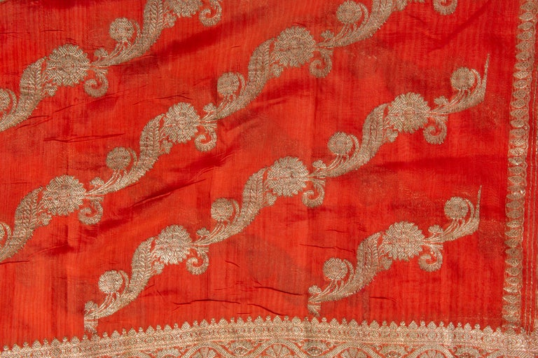 20th Century Vintage Indian Sari Coral Color New Idea for Unusual Curtains Also For Sale