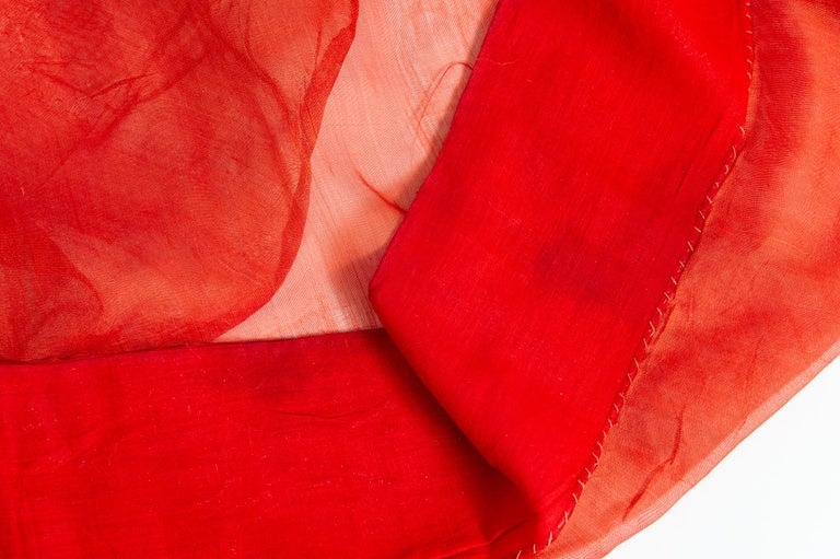 Synthetic Vintage Indian Sari Coral Color New Idea for Unusual Curtains Also For Sale
