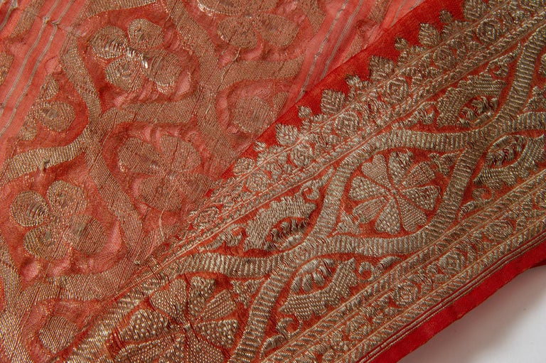 Vintage Indian Sari Coral Color New Idea for Unusual Curtains Also For Sale 2