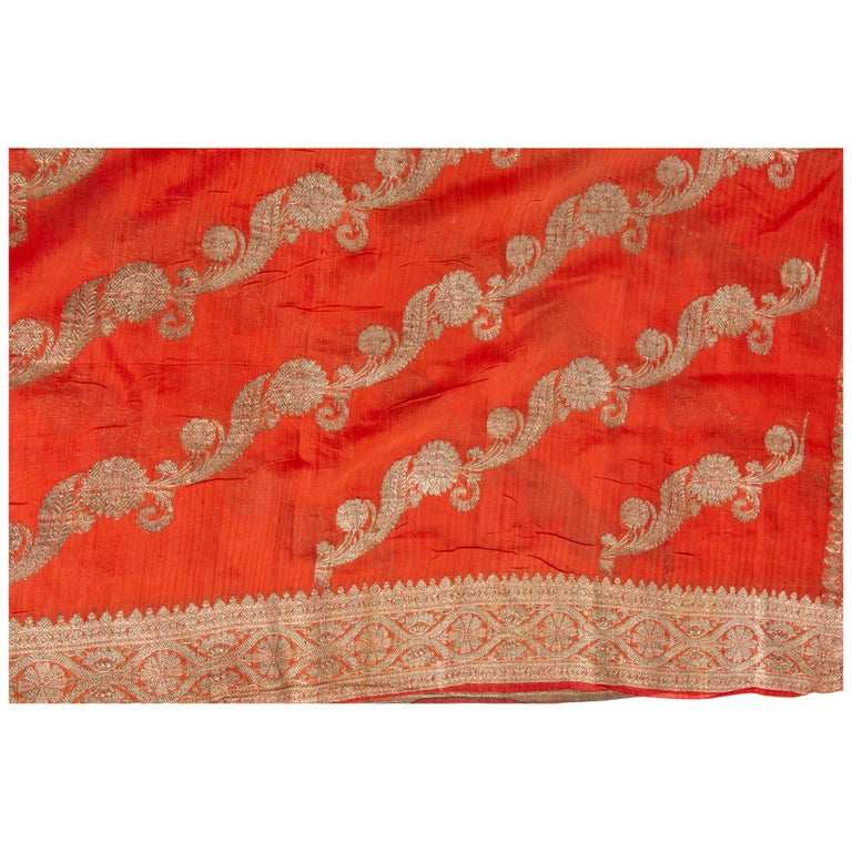 Vintage Indian Sari Coral Color New Idea for Unusual Curtains Also For Sale