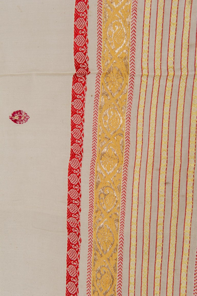 Woven Vintage Indian Sari Ivory, Red Coral and Gold for Curtains or Evening Dress For Sale