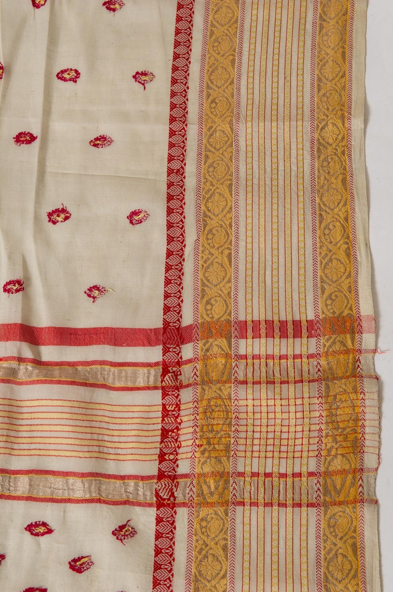 20th Century Vintage Indian Sari Ivory, Red Coral and Gold for Curtains or Evening Dress For Sale