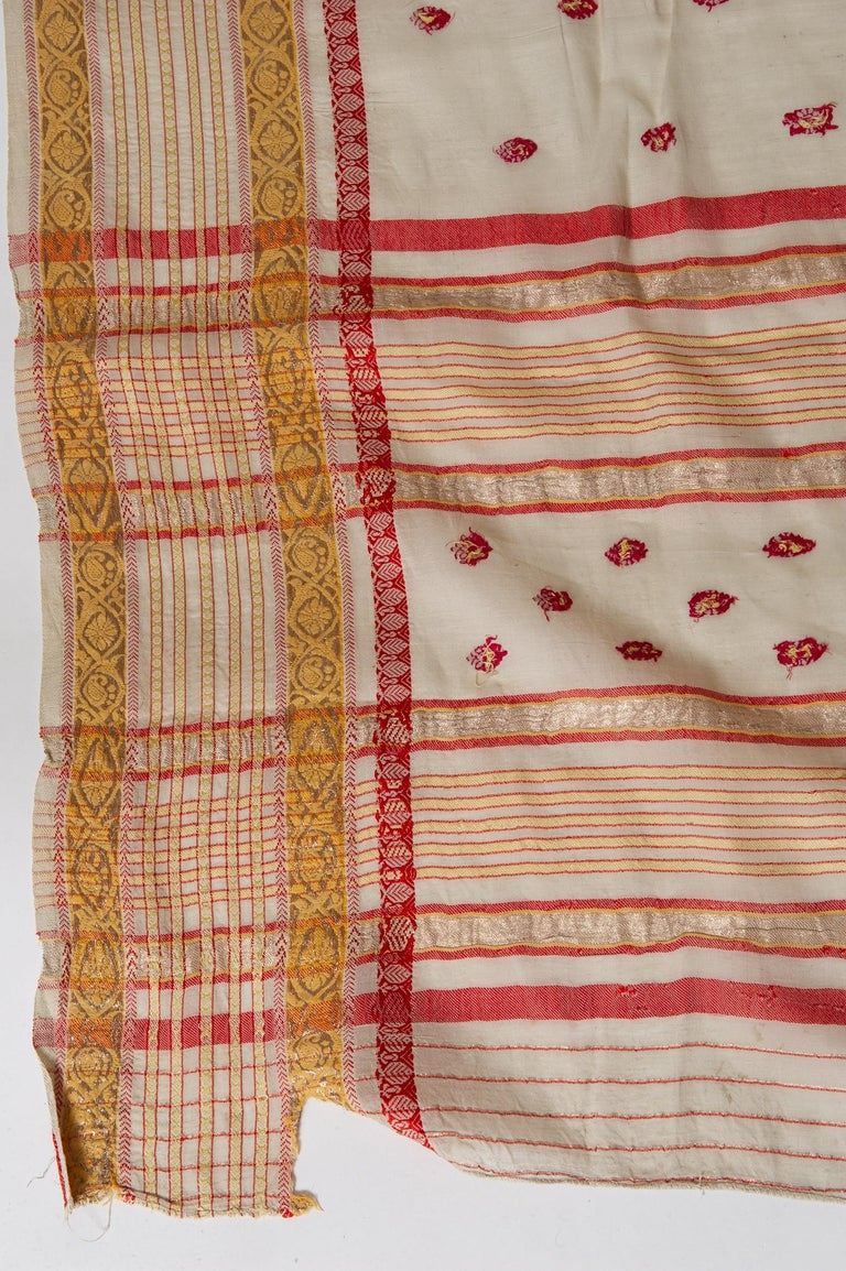 Synthetic Vintage Indian Sari Ivory, Red Coral and Gold for Curtains or Evening Dress For Sale