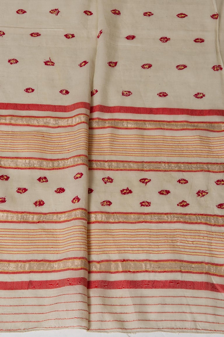 Vintage Indian Sari Ivory, Red Coral and Gold for Curtains or Evening Dress For Sale 1