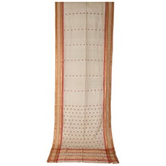 Vintage Indian Sari Ivory, Red Coral and Gold for Curtains or Evening Dress