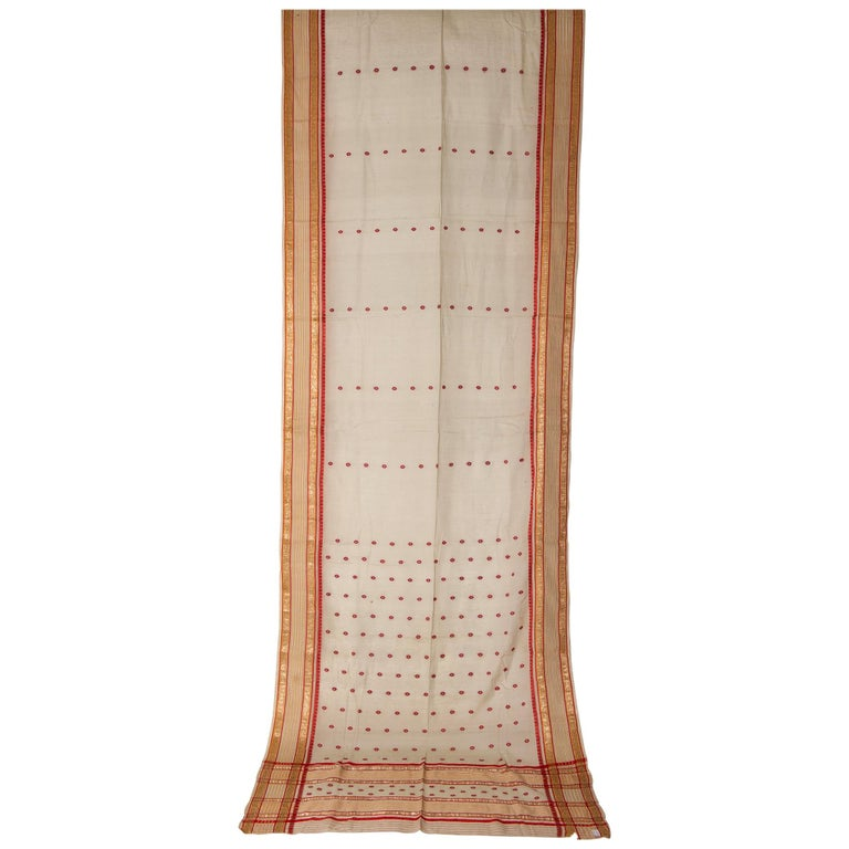 Vintage Indian Sari Ivory, Red Coral and Gold for Curtains or Evening Dress For Sale