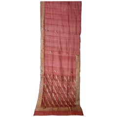 Vintage Indian Sari Mauve Color for Curtains or Evening Dress