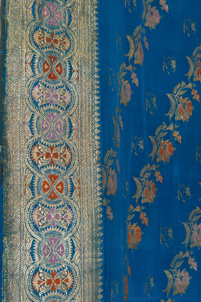 Vintage Indian Sari Turquoise with Rich Floral Drawing, for Curtain Also For Sale 8