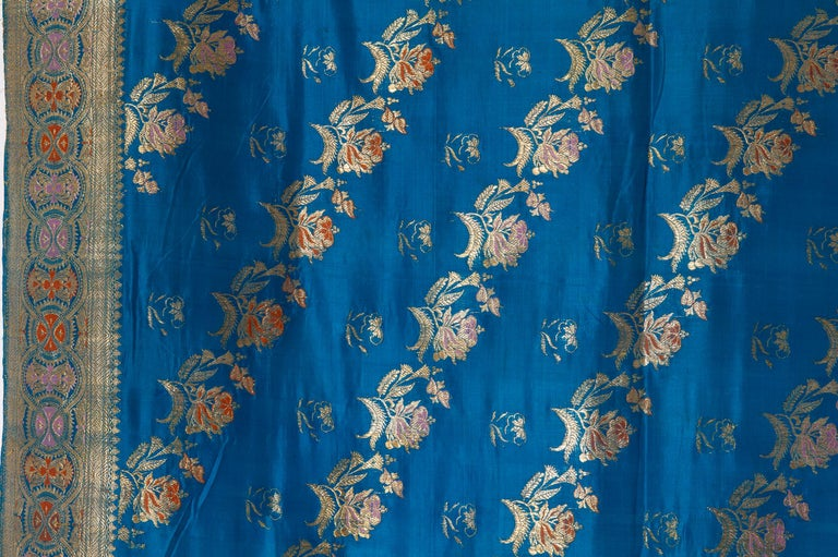 Vintage Indian Sari Turquoise with Rich Floral Drawing, for Curtain Also For Sale 9