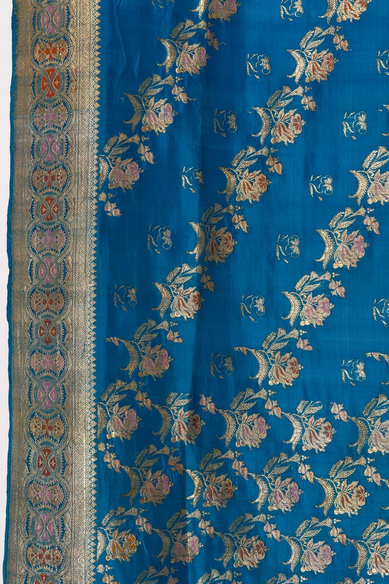 Vintage Indian Sari Turquoise with Rich Floral Drawing, for Curtain Also For Sale 12