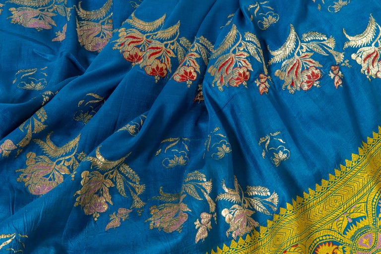 Embroidered Vintage Indian Sari Turquoise with Rich Floral Drawing, for Curtain Also For Sale
