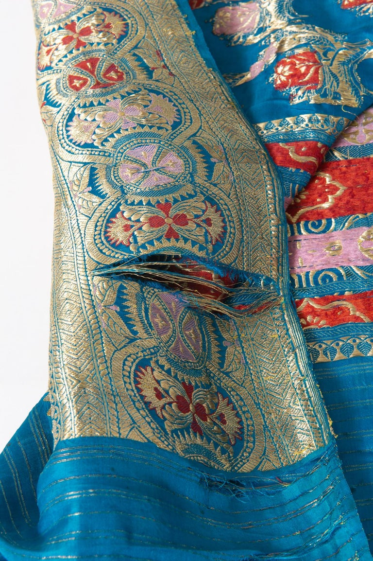 20th Century Vintage Indian Sari Turquoise with Rich Floral Drawing, for Curtain Also For Sale