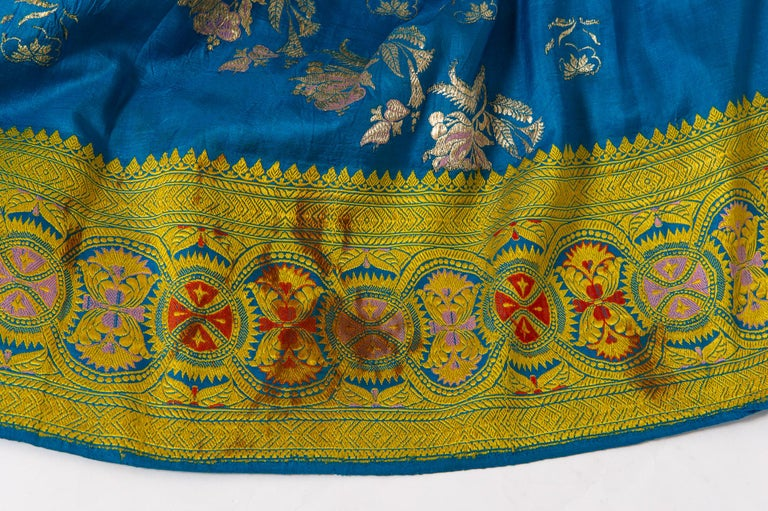 Acrylic Vintage Indian Sari Turquoise with Rich Floral Drawing, for Curtain Also For Sale