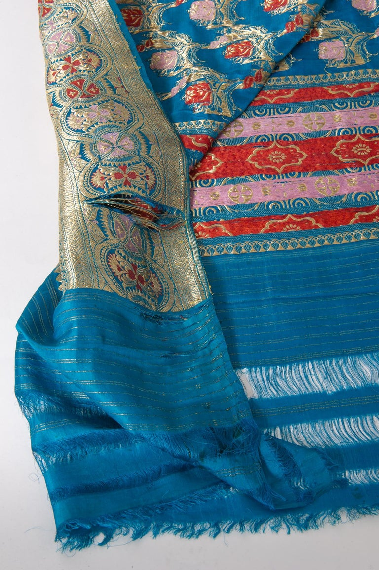 Vintage Indian Sari Turquoise with Rich Floral Drawing, for Curtain Also For Sale 1