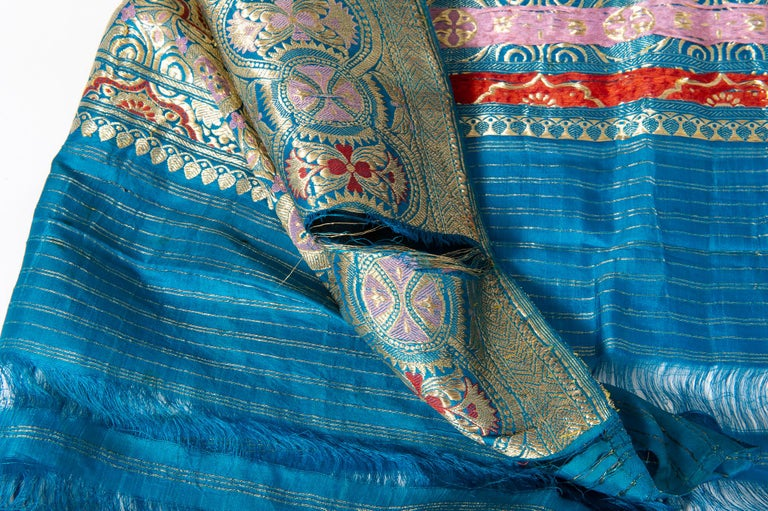 Vintage Indian Sari Turquoise with Rich Floral Drawing, for Curtain Also For Sale 2