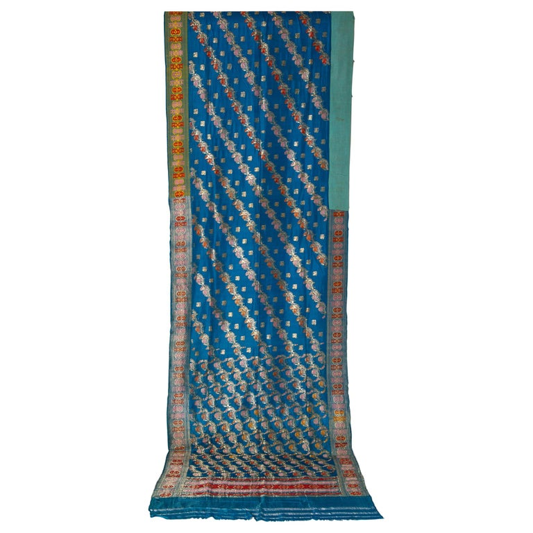 Vintage Indian Sari Turquoise with Rich Floral Drawing, for Curtain Also For Sale