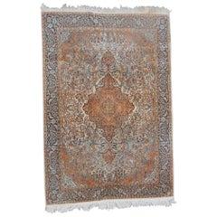 Vintage Indian Silk and Wool Rug