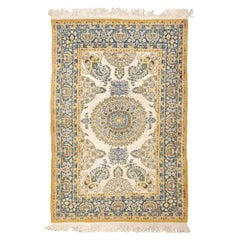 Vintage Indian Silk and Wool Rug. Size: 4 ft 2 in x 6 ft 2 in (1.27 m x 1.88 m)