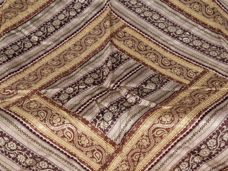Vintage Indian Silk Embroidered Fabric with Gold, Silver and Maroon Tones In Excellent Condition For Sale In Yonkers, NY