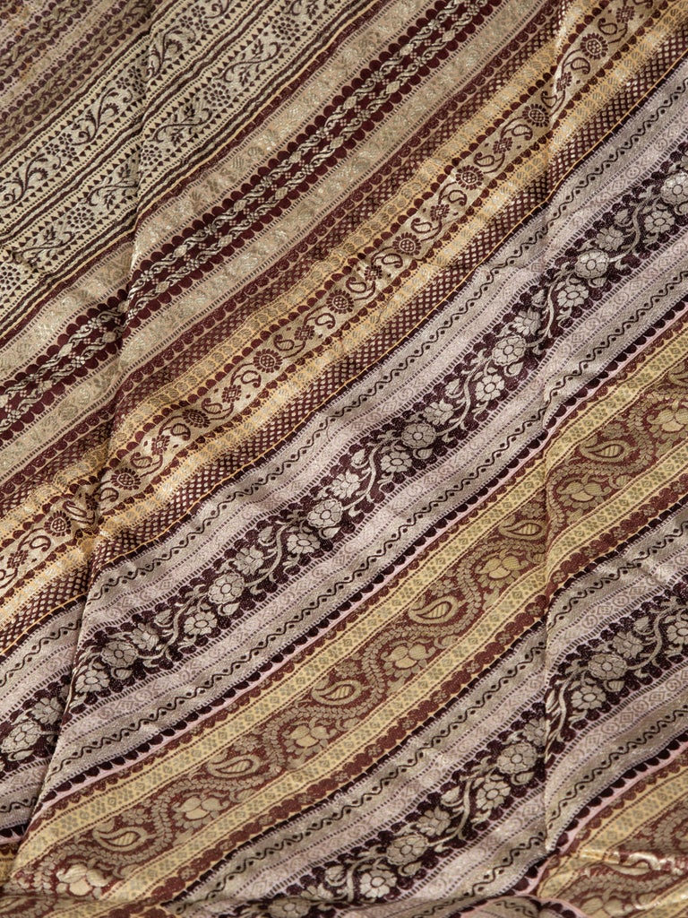 20th Century Vintage Indian Silk Embroidered Fabric with Gold, Silver and Maroon Tones For Sale