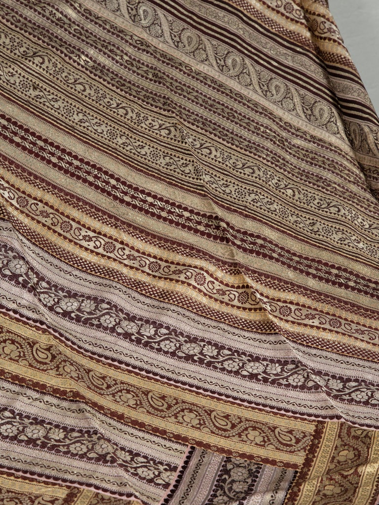 Vintage Indian Silk Embroidered Fabric with Gold, Silver and Maroon Tones For Sale 1