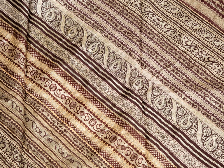 Vintage Indian Silk Embroidered Fabric with Gold, Silver and Maroon Tones For Sale 2