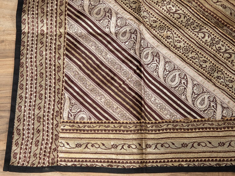 Vintage Indian Silk Embroidered Fabric with Gold, Silver and Maroon Tones For Sale 3
